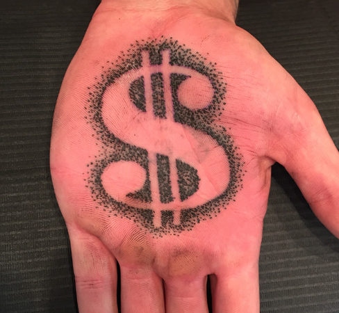 Dollar Symbol Tattoo on Hand Palm